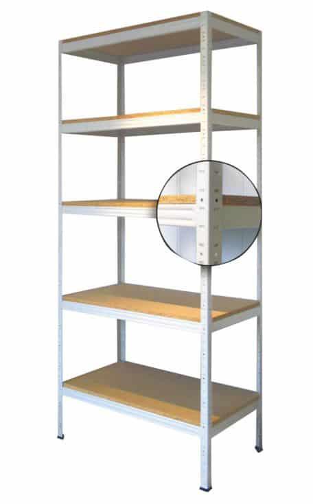 Regał wtykowy z półkami z płyty wiórowej RWP – model RWPo, RWPm