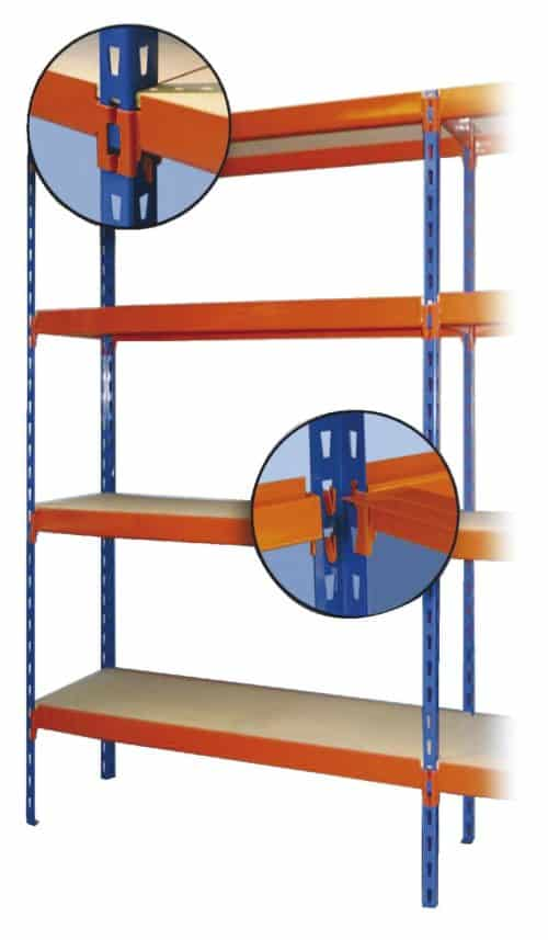 Regał wtykowy wielofunkcyjny RWW Z półkami z płyty wiórowej lub metalowymi (ocynkowanymi lub malowanymi).